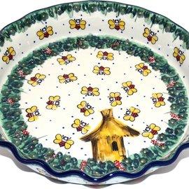 Ceramika Artystyczna Deep Pie Plate Honey Bee Signature