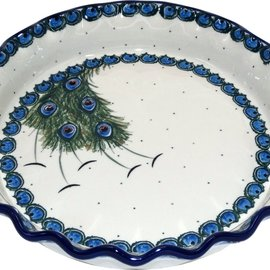 Ceramika Artystyczna Deep Pie Plate Peacock Feather Train