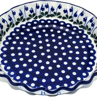 Ceramika Artystyczna Deep Pie Plate Royal Hanging Hearts