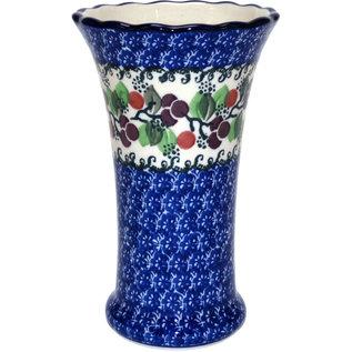 Ceramika Artystyczna Trumpet Vase Size 2 Cranberry Vine