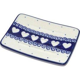 Ceramika Artystyczna Rectangular Soap Dish Ring of Hearts