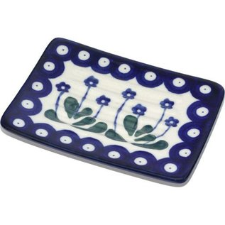 Ceramika Artystyczna Rectangular Soap Dish Royal Forget Me Not