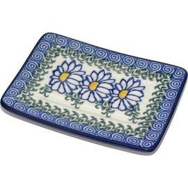 Ceramika Artystyczna Rectangular Soap Dish Silver Daisy