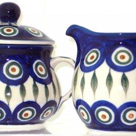 Ceramika Artystyczna Cream & Sugar Set Royal Peacock
