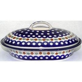 Ceramika Artystyczna Oval Covered Baker Size 2 Royal Cranberry