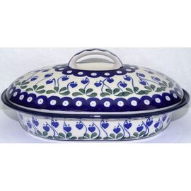 Ceramika Artystyczna Oval Covered Baker Size 2 Royal Hanging Hearts