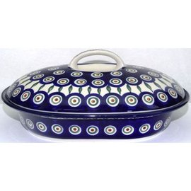 Ceramika Artystyczna Oval Covered Baker Size 2 Royal Peacock