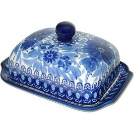 Ceramika Artystyczna Domed Butter Dish Blue on Blue Signature