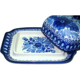 Ceramika Artystyczna Domed Butter Dish Blue on Blue Signature