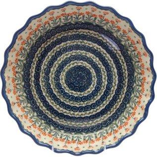 Ceramika Artystyczna Deep Pie Plate Poppies Orange