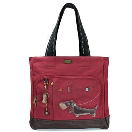 Pocket Tote Wiener Dog Burgundy