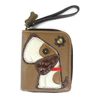 Zip Around Wallet Dog Brown
