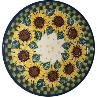 Ceramika Artystyczna Bread & Butter Plate Checkered Sunflowers Signature