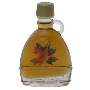 Maple Hollow Maple Syrup, Glass with Maple Leaves, 1.68 oz.
