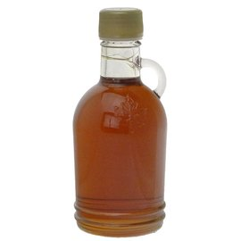 Maple Hollow Maple Syrup, Glass, Round Embossed Leaf 8.45 oz.