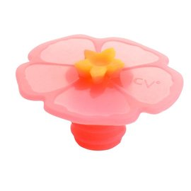 Charles Viancin Bottle Stopper, Pink Hibiscus