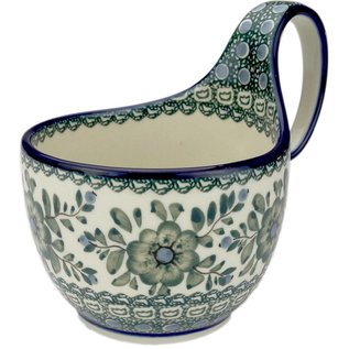 Ceramika Artystyczna Soup Cup Green Rose Signature