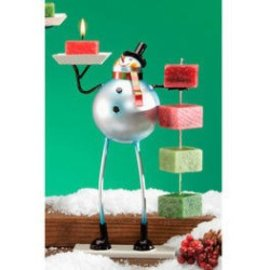Snowman Candle on Rope Holder