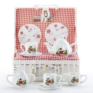 Porcelain Tea Set w/ Basket Snowman