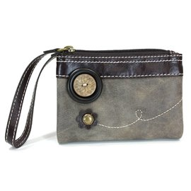 Double Zip Wallet Stone Gray