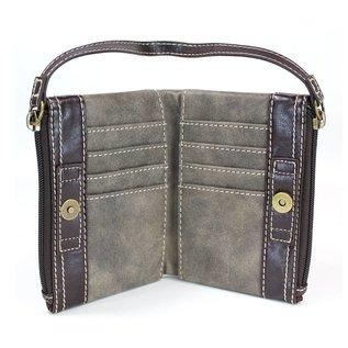 Double Zip Wallet Stone Gray