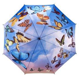 Stick Umbrella Swirling Butterflies
