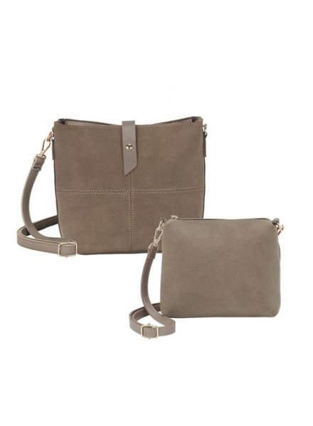 CARACOL CARACOL SAC 2 EN 1 EFFET SUEDE TAUPE