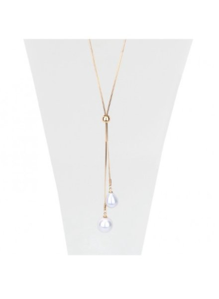 CARACOL CARACOL COLLIER LONG OR AVEC PERLES