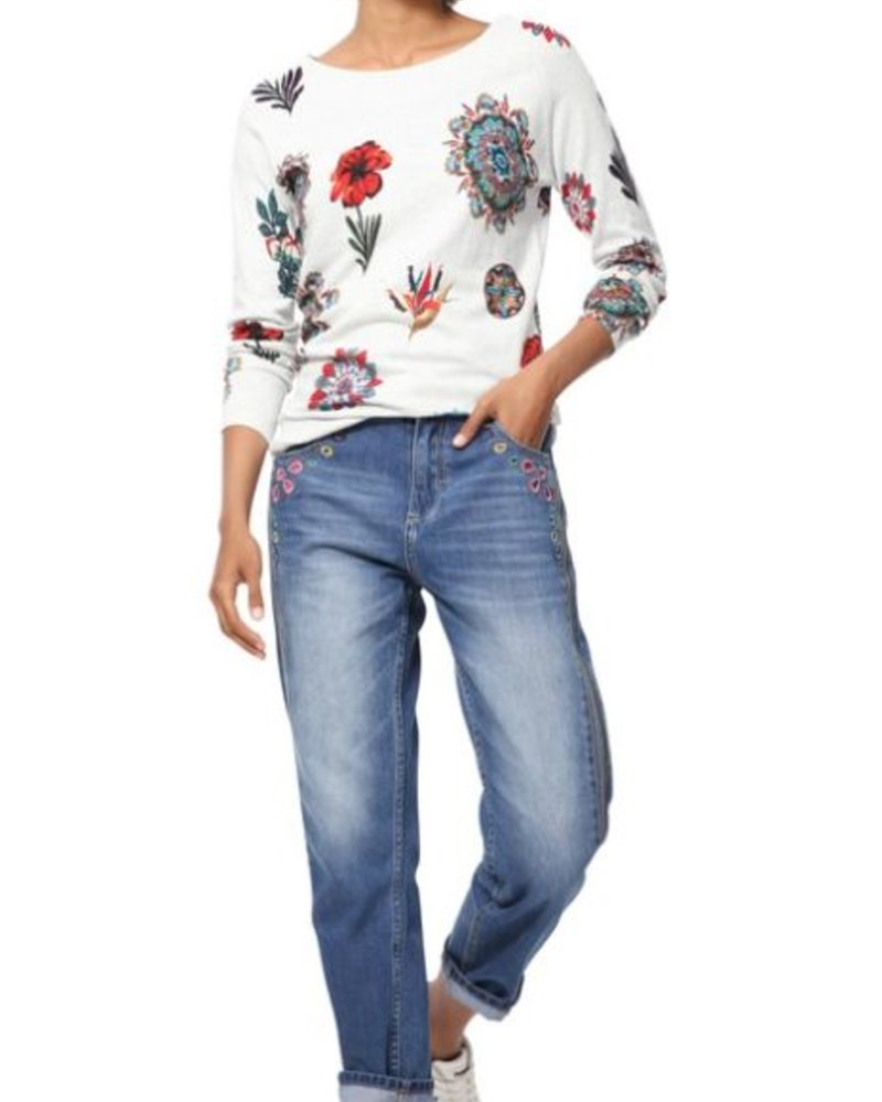 DESIGUAL DESIGUAL SWEATER BANTRY MULTI FLOWERS GREY