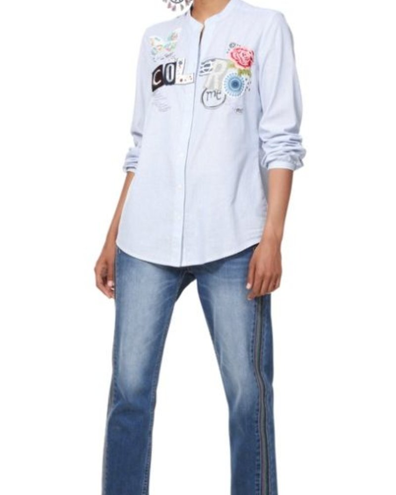 DESIGUAL DESIGUAL LONG SHIRT GEORGINA STRIPPED BLUE AND WHITE