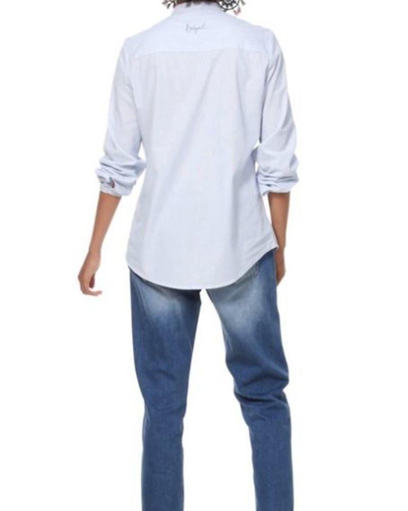 DESIGUAL DESIGUAL LONG SHIRT GEORGINA STRIPPED BLUE AND WHITE