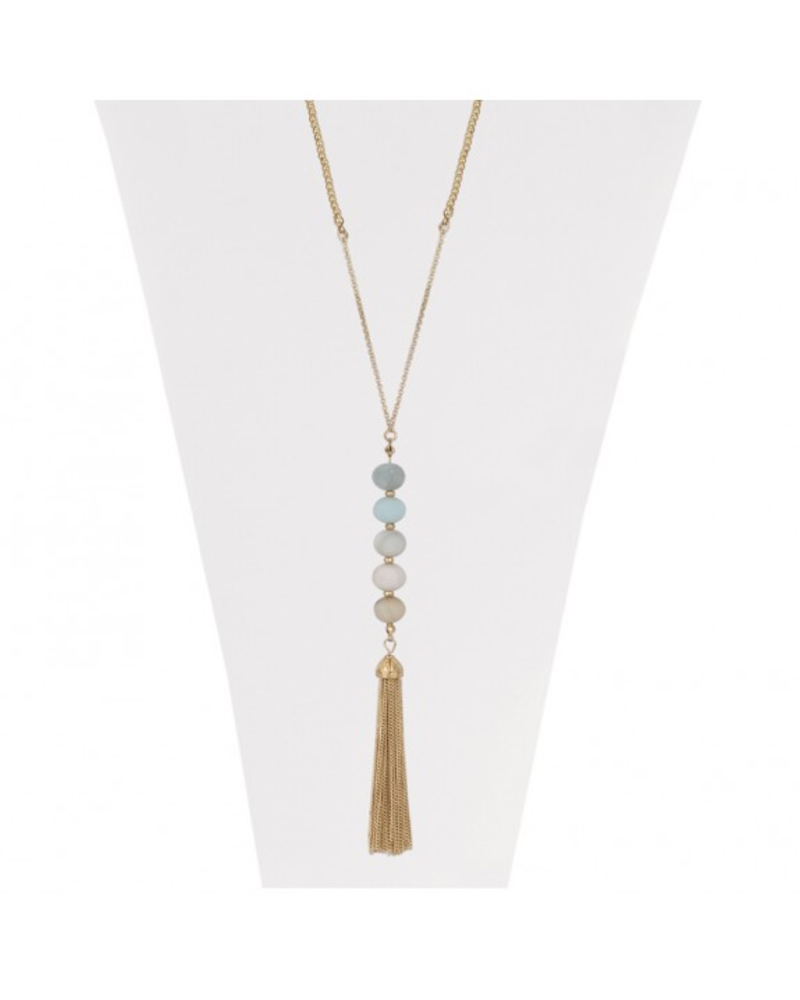 CARACOL CARACOL COLLIER LONG BILLES TURQUOISE