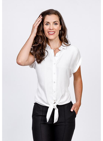NINETY-EIGHT NINETY-EIGHT WHITE TIE-FRONT BUTTON-UP BLOUSE