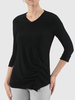 LISETTE LISETTE HAUT V NECK W/FOLDED LEFT SIDE NOIR