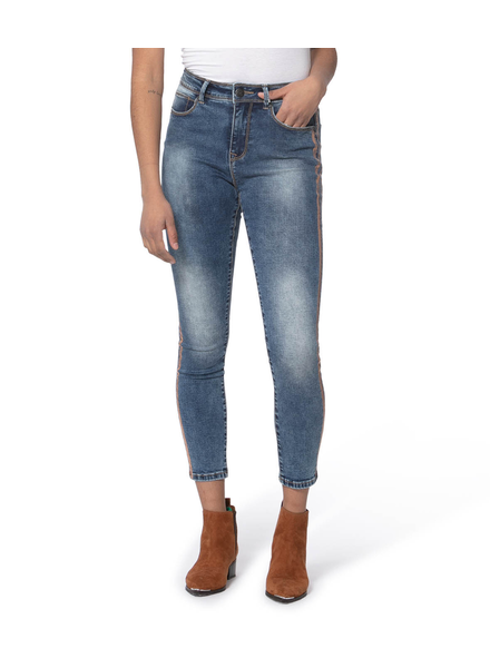 LOLA JEANS LOLA JEANS HIGH RISE SKINNY JEANS 2 BANDES BRONZE