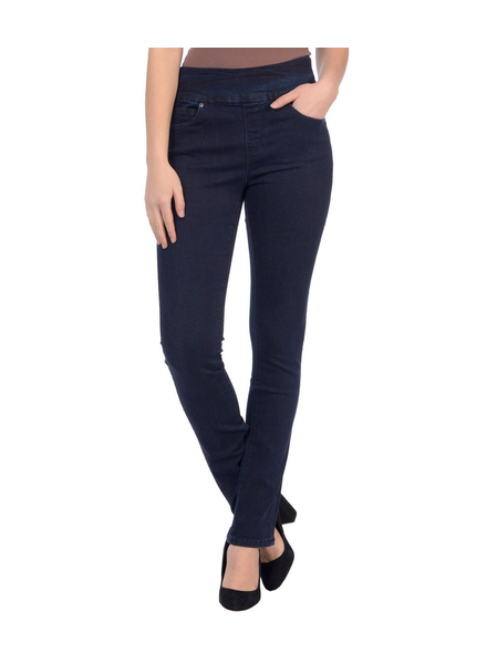 LOLA JEANS LOLA JEANS HIGH RISE PULL ON STRAIGHT REBECCAH DARK BLUE