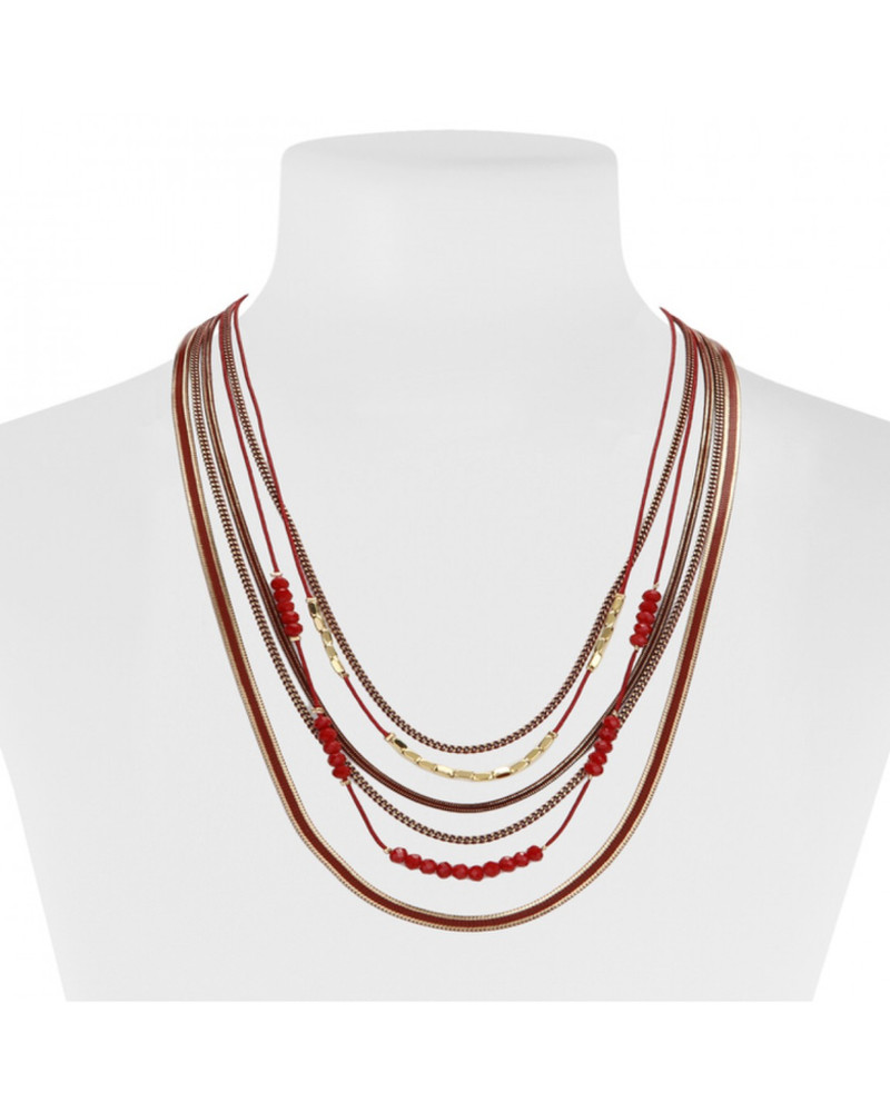 CARACOL CARACOL COLLIER 6 RANGS  ROUGE