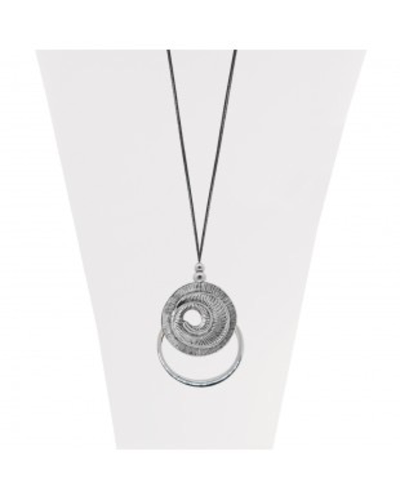 CARACOL CARACOL COLLIER CORDE AJUST PENDENTIF ARGENT