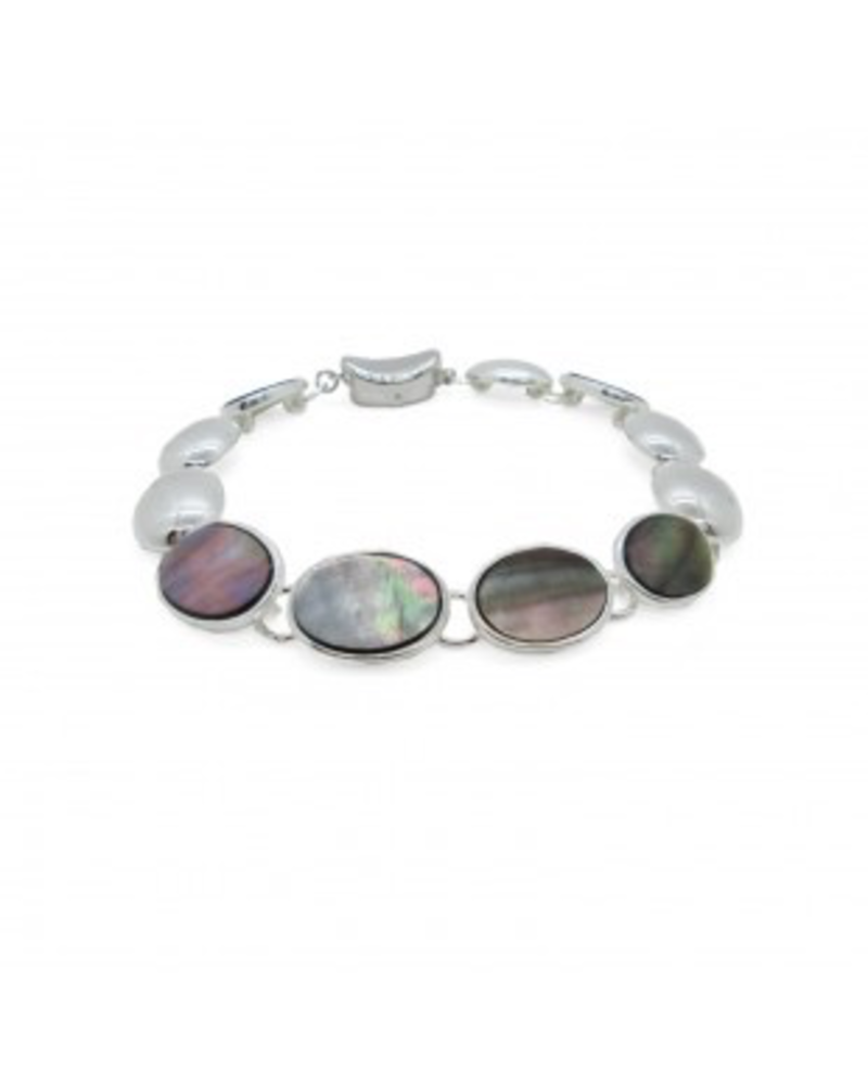 CARACOL CARACOL BRACELET ARGENT COQUILLAGE PASTILLES OVALES