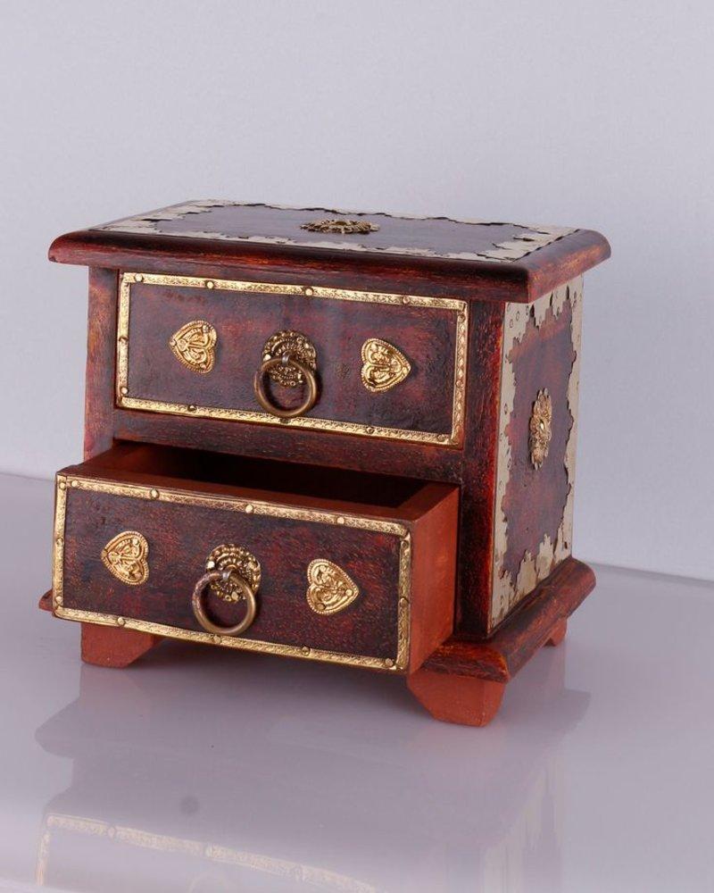 WOODEN BOX 2 DRAWER $ 38