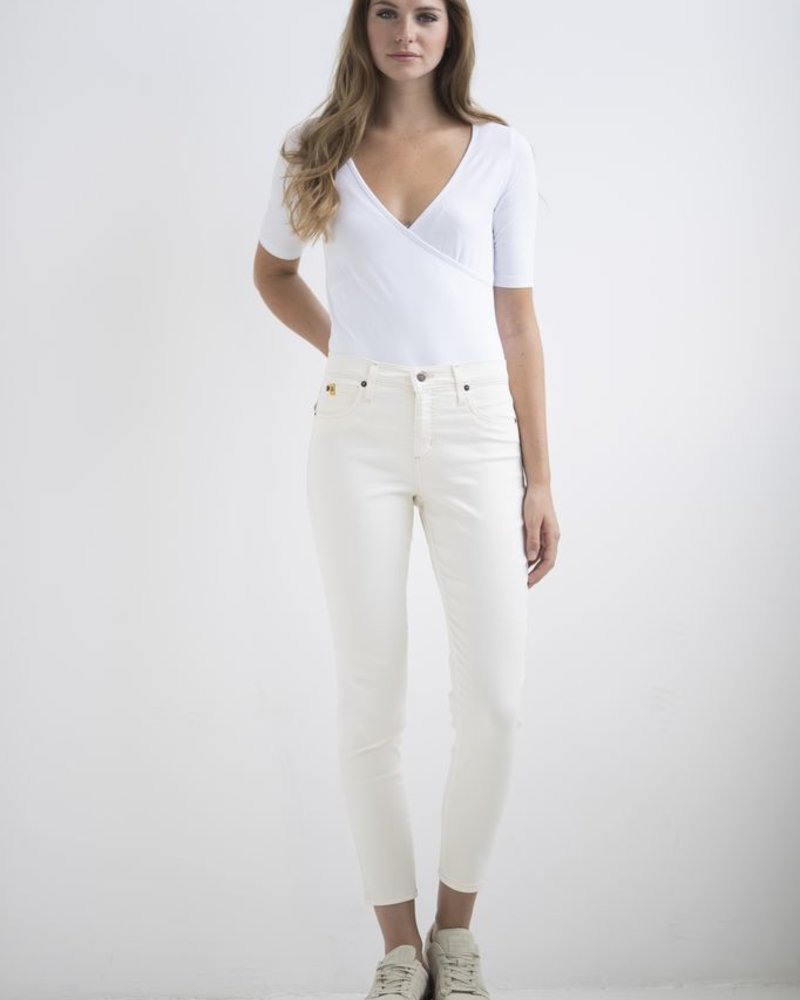 YOGA JEANS JEANS HIGH RISE ANKLE LINEN / CREAM