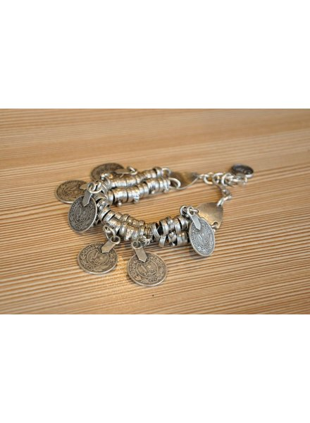 BIJOUX SAZZU SAZZU BRACELET CLEO CURRENCY 2 ROWS ZAMAK PLATED ARG