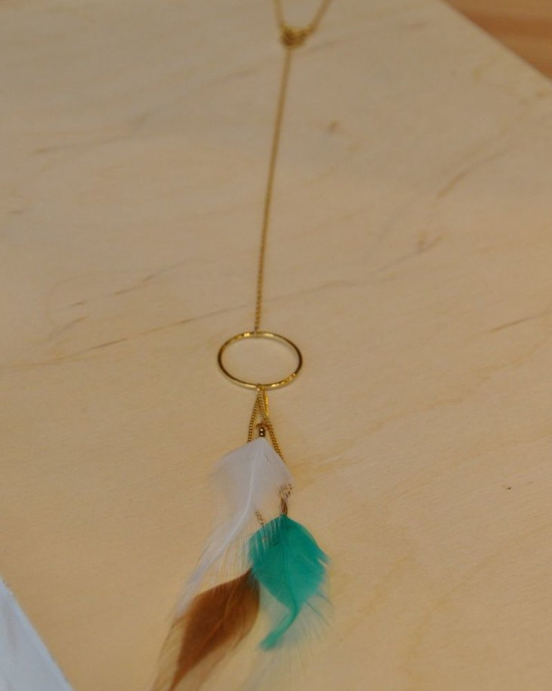 BOBO NECKLACE LONG TRUE FEATHER WHITE / TURQ / BROWN