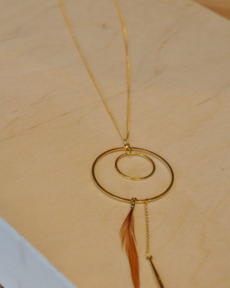 BOBO NECKLACE SHORT CIRCLE AND TRUE BROWN FEATHER