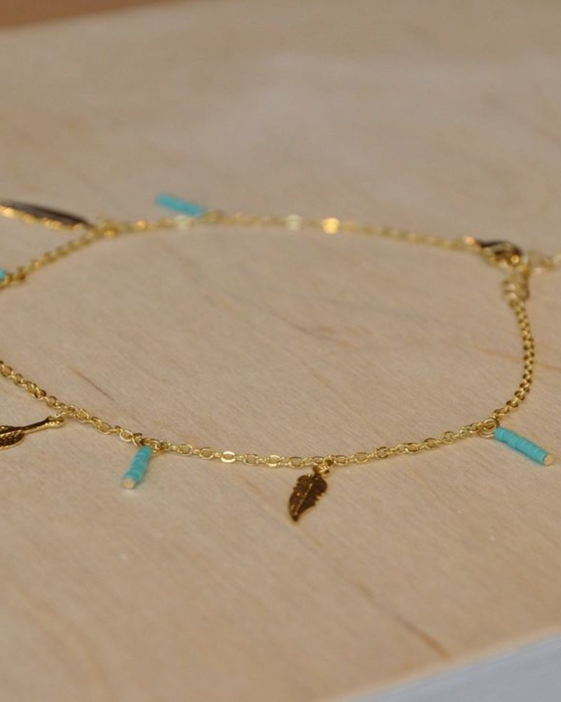 BOBO BRACELET OF ANKLE FEATHERS TURQUOISE