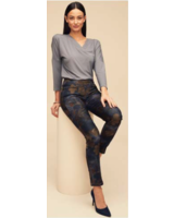 LISETTE LISETTE HAMPSHIRE ROSE PRINT 31'' SLIM PANT DENIM BLUE