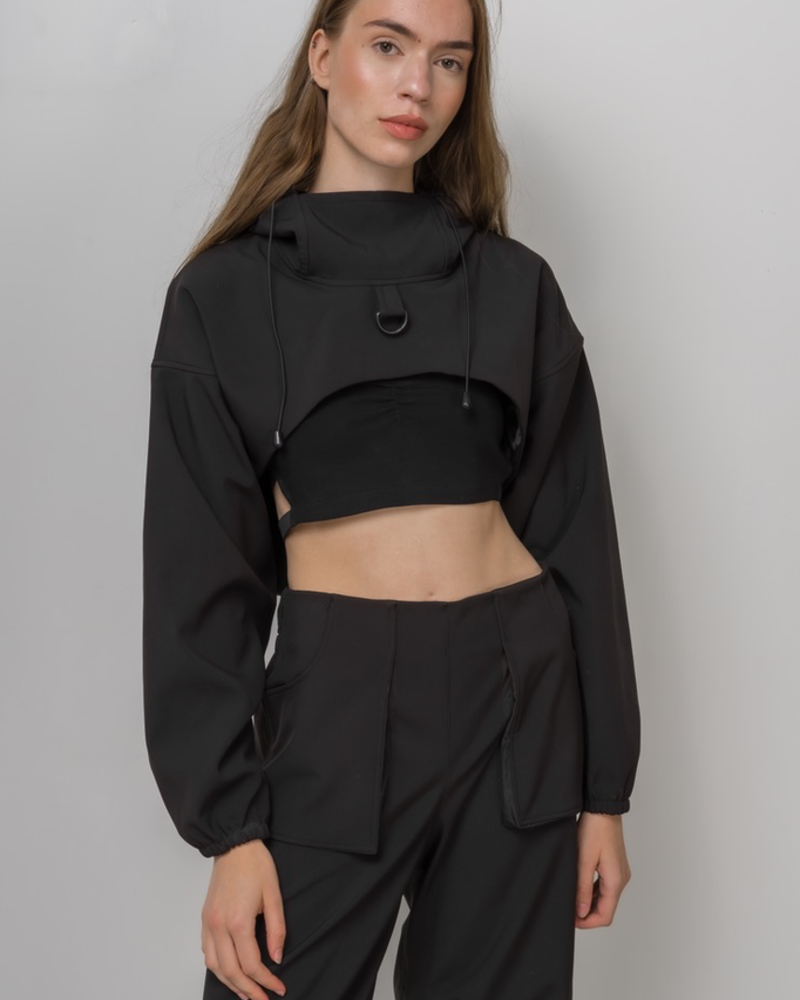 MERCY HOUSE MERCY HOUSE CROPPED SOFTSHELL HOODIE NOIR