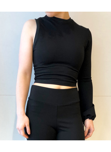 MERCY HOUSE MERCY HOUSE ASYMMETRICAL CROPPED TOP NOIR
