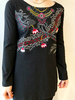 LEOPARDS AND ROSES TUNIQUE EMBROIDERY NOIR/ROSE