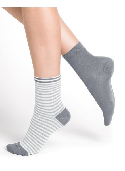 BAS/COLLANT BLEU FORÊT BLUE DRILL DUO SOCKS STRIPED GRAY